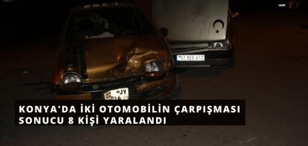 Konya'da İki Otomobilin Çarpıştı,  8 Kişi Yaralandı
