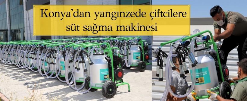 Konya'dan yangınzede çiftcilere süt sağma makinesi