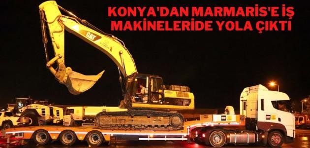 KONYA'DAN MARMARİS'E İŞ MAKİNELERİDE YOLA ÇIKTI